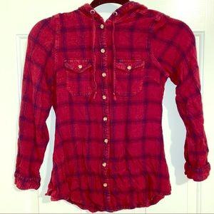Plaid top button down shirt